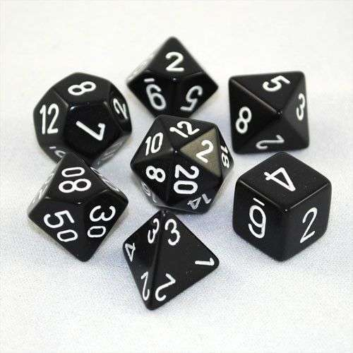 Chessex Opaque Polyhedral 7-Die Set - Black w/white