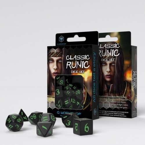 Classic Runic Black & Green Dice Set (7)