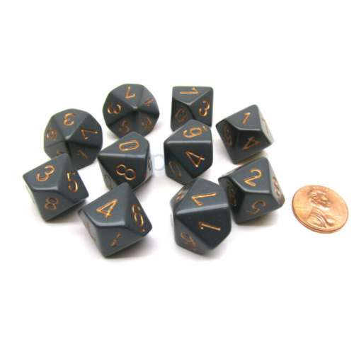 Chessex Opaque Polyhedral 7-Die Set - Dark Grey w/copper