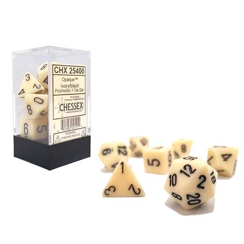 Chessex Opaque Polyhedral 7-Die Set - Ivory w/black