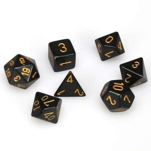 Chessex Opaque Polyhedral 7-Die Set - Black w/gold